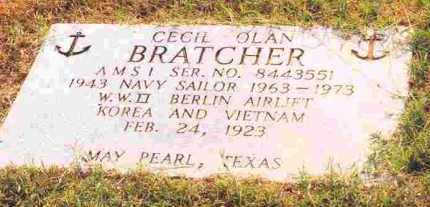 BRATCHER (VETERAN 3 WARS), CECIL OLAN - Sevier County, Arkansas | CECIL OLAN BRATCHER (VETERAN 3 WARS) - Arkansas Gravestone Photos