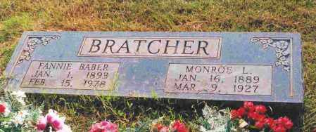 BABER BRATCHER, FANNIE - Sevier County, Arkansas | FANNIE BABER BRATCHER - Arkansas Gravestone Photos