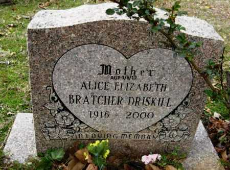 BRATCHER DRISKILL, ALICE ELIZABETH - Sevier County, Arkansas | ALICE ELIZABETH BRATCHER DRISKILL - Arkansas Gravestone Photos