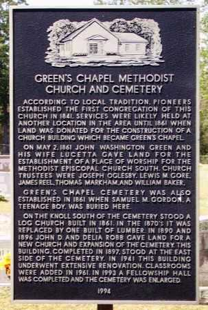 *GREEN'S CHAPEL HISTORIC SIGN,  - Sevier County, Arkansas |  *GREEN'S CHAPEL HISTORIC SIGN - Arkansas Gravestone Photos
