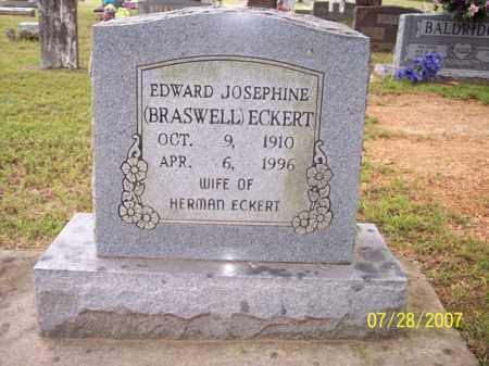 BRASWELL ECKERT, EDWARD JOSEPHINE - Sharp County, Arkansas | EDWARD JOSEPHINE BRASWELL ECKERT - Arkansas Gravestone Photos