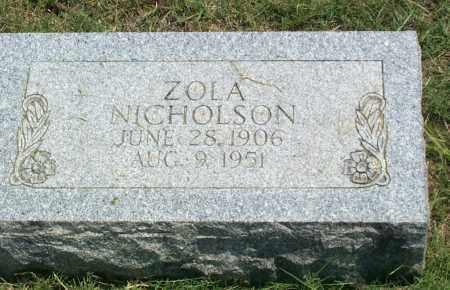 NICHOLSON, ZOLA F. - Sharp County, Arkansas   ZOLA F. NICHOLSON - Arkansas Gravestone Photos