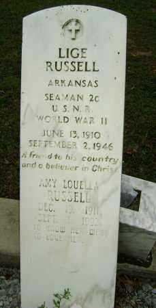 RUSSELL (VETERAN WWII), LIGE - Sharp County, Arkansas | LIGE RUSSELL (VETERAN WWII) - Arkansas Gravestone Photos