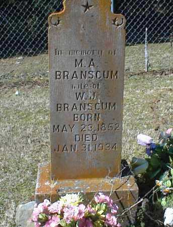 BRANSCUM, M. A. - Stone County, Arkansas | M. A. BRANSCUM - Arkansas Gravestone Photos