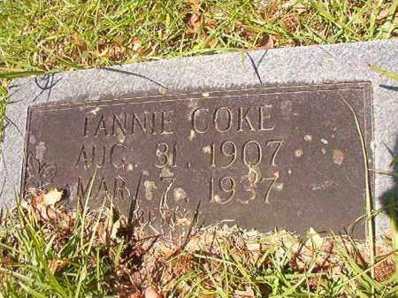 COKE, FANNIE - Union County, Arkansas | FANNIE COKE - Arkansas Gravestone Photos