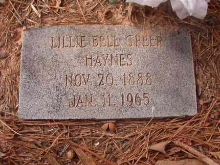 GREER HAYNES, LILLIE BELL - Union County, Arkansas | LILLIE BELL GREER HAYNES - Arkansas Gravestone Photos