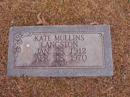 MULLINS LANGSTON, KATE - Union County, Arkansas | KATE MULLINS LANGSTON - Arkansas Gravestone Photos