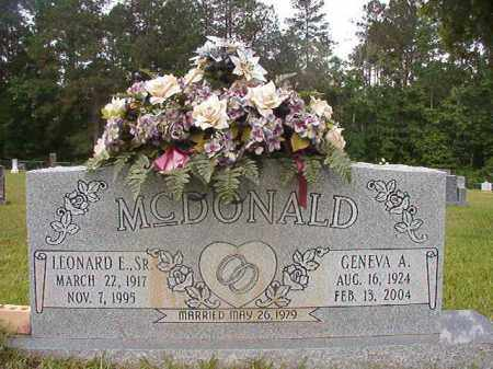 MCDONALD, LEONARD E, SR. - Union County, Arkansas | LEONARD E, SR. MCDONALD - Arkansas Gravestone Photos