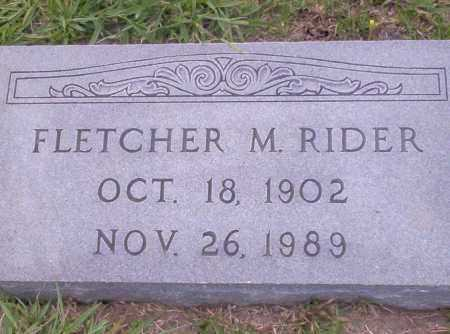 RIDER, FLETCHER M. - Union County, Arkansas | FLETCHER M. RIDER - Arkansas Gravestone Photos