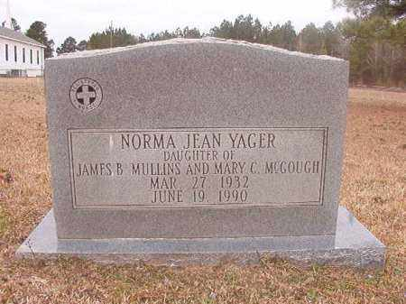 MULLINS YAGER, NORMA JEAN - Union County, Arkansas | NORMA JEAN MULLINS YAGER - Arkansas Gravestone Photos