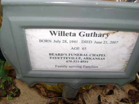 GUTHARY, WILLETA - Washington County, Arkansas | WILLETA GUTHARY - Arkansas Gravestone Photos