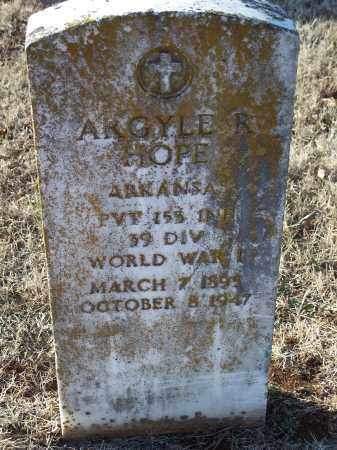 HOPE (VETERAN WWI), ARGYLE R. - Washington County, Arkansas | ARGYLE R. HOPE (VETERAN WWI) - Arkansas Gravestone Photos
