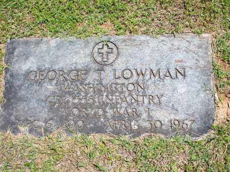 LOWMAN (VETERAN WWI), GEORGE T - Washington County, Arkansas | GEORGE T LOWMAN (VETERAN WWI) - Arkansas Gravestone Photos