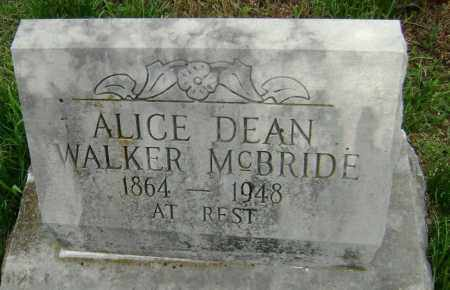 WALKER MCBRIDE, ALICE DEAN - Washington County, Arkansas | ALICE DEAN WALKER MCBRIDE - Arkansas Gravestone Photos