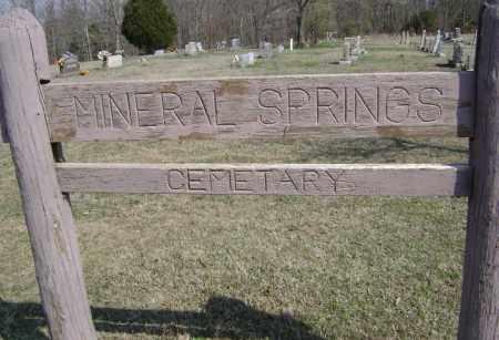 *MINERAL SPRINGS CEMETERY SIGN,  - Washington County, Arkansas |  *MINERAL SPRINGS CEMETERY SIGN - Arkansas Gravestone Photos