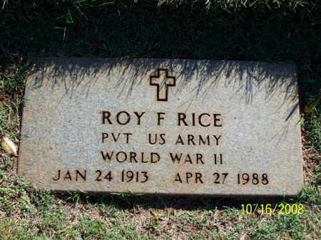 RICE (VETERAN WWII), ROY F. - Washington County, Arkansas | ROY F. RICE (VETERAN WWII) - Arkansas Gravestone Photos