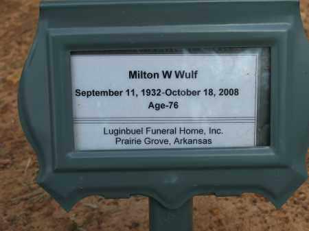 WULF, MILTON W. - Washington County, Arkansas | MILTON W. WULF - Arkansas Gravestone Photos