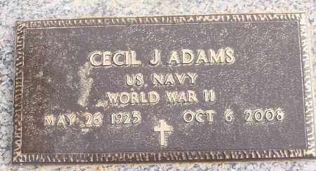 ADAMS (VETERAN WWII), CECIL J - White County, Arkansas | CECIL J ADAMS (VETERAN WWII) - Arkansas Gravestone Photos