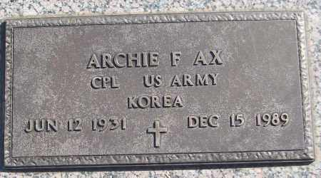 AX (VETERAN KOR), ARCHIE F - White County, Arkansas | ARCHIE F AX (VETERAN KOR) - Arkansas Gravestone Photos