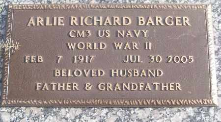 BARGER (VETERAN WWII), ARLIE RICHARD - White County, Arkansas | ARLIE RICHARD BARGER (VETERAN WWII) - Arkansas Gravestone Photos