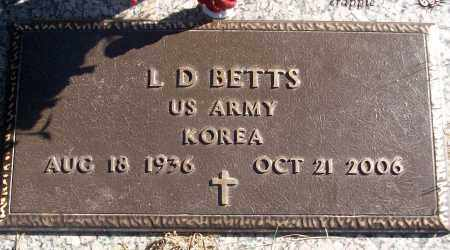 BETTS (VETERAN KOR), L D - White County, Arkansas   L D BETTS (VETERAN KOR) - Arkansas Gravestone Photos