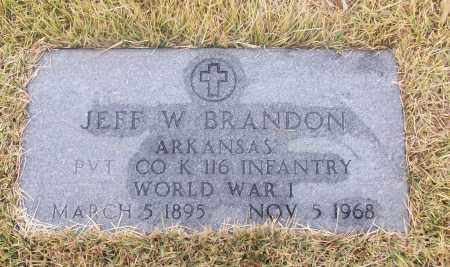 BRANDON  (VETERAN WWI), JEFF W - White County, Arkansas | JEFF W BRANDON  (VETERAN WWI) - Arkansas Gravestone Photos