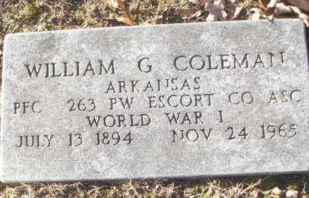 COLEMAN (VETERAN WWI), WILLIAM G - White County, Arkansas | WILLIAM G COLEMAN (VETERAN WWI) - Arkansas Gravestone Photos