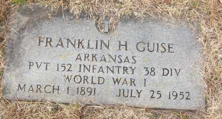 GUISE (VETERAN WWI), FRANKLIN H - White County, Arkansas | FRANKLIN H GUISE (VETERAN WWI) - Arkansas Gravestone Photos