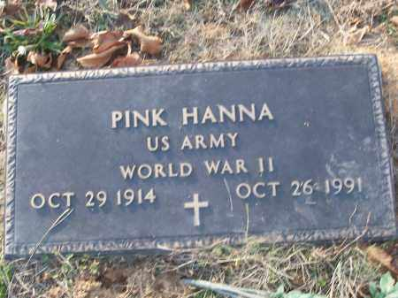 HANNA (VETERAN WWII), PINK - White County, Arkansas | PINK HANNA (VETERAN WWII) - Arkansas Gravestone Photos