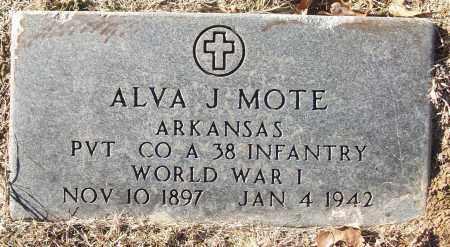 MOTE (VETERAN WWI), ALVA J - White County, Arkansas   ALVA J MOTE (VETERAN WWI) - Arkansas Gravestone Photos