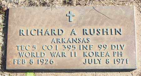 RUSHIN (VETERAN 2 WARS), RICHARD A - White County, Arkansas | RICHARD A RUSHIN (VETERAN 2 WARS) - Arkansas Gravestone Photos
