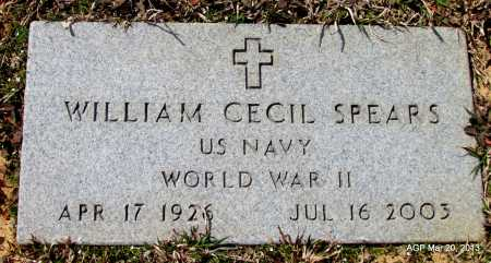 SPEARS (VETERAN WWII), WILLIAM CECIL - White County, Arkansas | WILLIAM CECIL SPEARS (VETERAN WWII) - Arkansas Gravestone Photos
