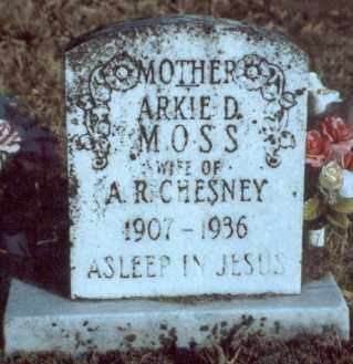 MOSS CHESNEY, ARKIE D. - Yell County, Arkansas | ARKIE D. MOSS CHESNEY - Arkansas Gravestone Photos