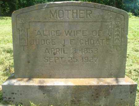 CHOATE, ALICE - Yell County, Arkansas | ALICE CHOATE - Arkansas Gravestone Photos