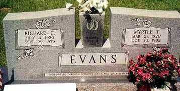 EVANS, MYRTLE T - Ashley County, Arkansas | MYRTLE T EVANS - Arkansas Gravestone Photos