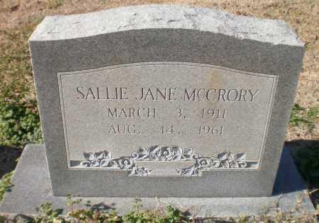 MCCRORY, SALLIE JANE - Ashley County, Arkansas | SALLIE JANE MCCRORY - Arkansas Gravestone Photos