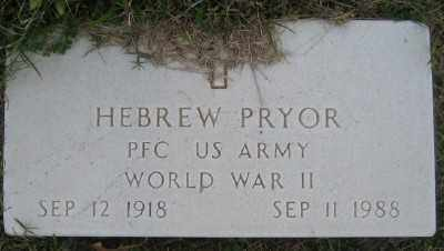 PRYOR (VETERAN WWII), HEBREW - Ashley County, Arkansas | HEBREW PRYOR (VETERAN WWII) - Arkansas Gravestone Photos