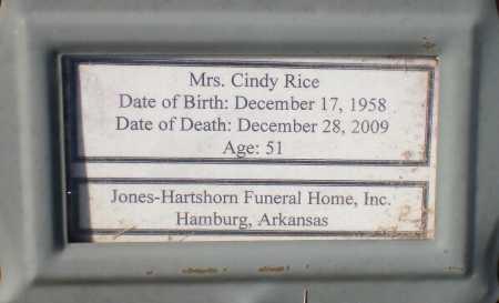 RICE, CINDY - Ashley County, Arkansas | CINDY RICE - Arkansas Gravestone Photos