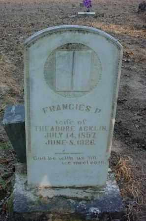 ACKLIN, FRANCIES P. - Baxter County, Arkansas | FRANCIES P. ACKLIN - Arkansas Gravestone Photos