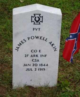 AKIN (VETERAN CSA), JAMES POWELL (OBIT) - Baxter County, Arkansas   JAMES POWELL (OBIT) AKIN (VETERAN CSA) - Arkansas Gravestone Photos
