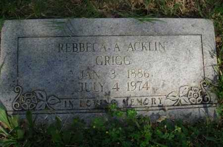 ACKLIN GRIGG, REBBECA A. - Baxter County, Arkansas | REBBECA A. ACKLIN GRIGG - Arkansas Gravestone Photos