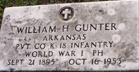GUNTER  (VETERAN WWI), WILLIAM HENRY - Baxter County, Arkansas | WILLIAM HENRY GUNTER  (VETERAN WWI) - Arkansas Gravestone Photos