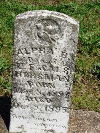 HORSMAN, ALPHA B - Baxter County, Arkansas | ALPHA B HORSMAN - Arkansas Gravestone Photos