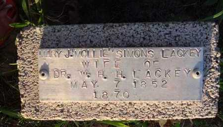 "SIMONS LACKEY, MARY J. ""MOLLIE"" - Baxter County, Arkansas 