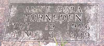 TORNEDEN, ALICE CORA - Baxter County, Arkansas | ALICE CORA TORNEDEN - Arkansas Gravestone Photos
