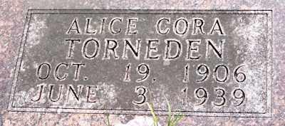 GLOER TORNEDEN, ALICE CORA - Baxter County, Arkansas | ALICE CORA GLOER TORNEDEN - Arkansas Gravestone Photos