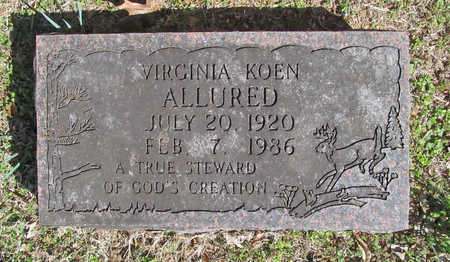 KOEN ALLURED, VIRGINIA - Benton County, Arkansas | VIRGINIA KOEN ALLURED - Arkansas Gravestone Photos