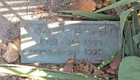 BALLHEIM, JOHN W. - Benton County, Arkansas | JOHN W. BALLHEIM - Arkansas Gravestone Photos