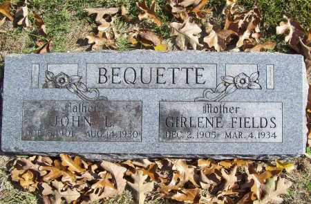 FIELDS BEQUETTE, AMANDA GIRLENA - Benton County, Arkansas | AMANDA GIRLENA FIELDS BEQUETTE - Arkansas Gravestone Photos