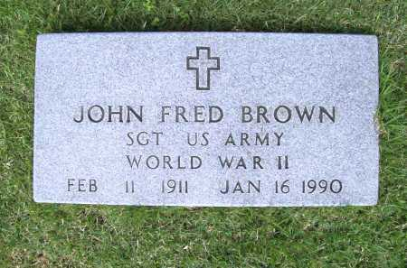 BROWN (VETERAN WWII), JOHN FRED - Benton County, Arkansas | JOHN FRED BROWN (VETERAN WWII) - Arkansas Gravestone Photos